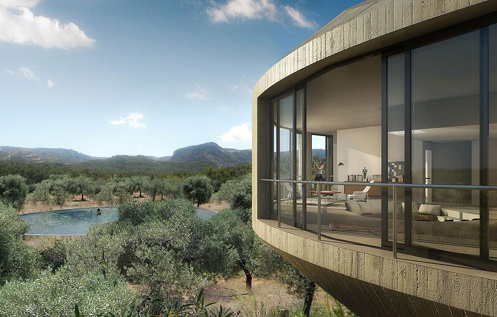 משרד האדריכלים הבלגי KGDVS תיכנן מבנה עגול. במרכז יש חצר עם בריכה, ומסביבה טבעת חיצונית עם חדרי הבית (Courtesy of Architecture de Collection)