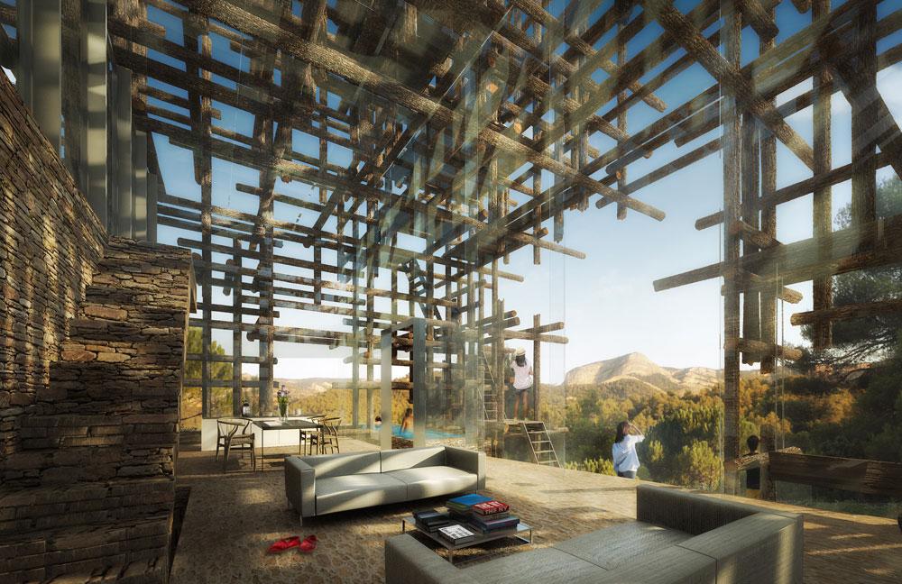 מזכיר את ביתן הקיץ של גלריה סרפנטיין בלונדון, ולא במקרה: סו פוג'ימוטו תיכנן את שניהם. במקרה הזה, המוטות עשויים עץ ולא מתכת, ומכניסים את הדיירים לאווירת יער עבות (Courtesy of Architecture de Collection)