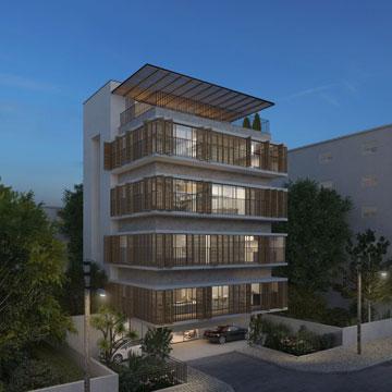הדמיית הבניין המתוכנן להיבנות ברחוב מסדה 13 בהדר הכרמל (תכנון: שוורץ בסנוסוף ורמי גיל)