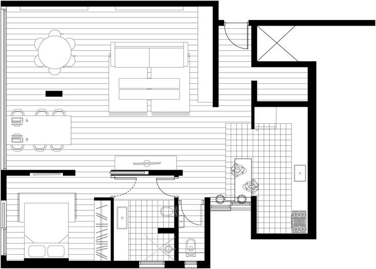 """התוכנית """"אחרי"""": המטבח נשאר במקומו המקורי, אך נפתח לחלל הגדול של הסלון והסטודיו. חדר שינה אחד נבנה בשורה עם חדרי הרחצה והשירותים (תכנית: סטודיו הנקין שביט)"""