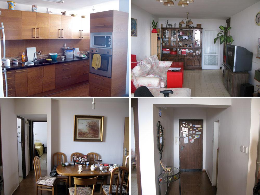 """הדירה """"לפני"""". מימין למעלה ובכיוון השעון: הסלון, מבואת הכניסה, פינת האוכל, המטבח. כמעט כל הקירות הפנימיים נהרסו, ונבנה קיר שמפריד בין חלל הסלון והסטודיו לחדרי השינה והרחצה (צילום: סטודיו הנקין שביט)"""