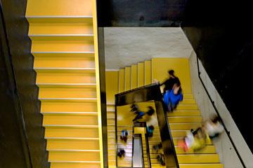 גרם מדרגות בבית הספר בבולצאנו. מתחת לאדמה (צילום: Alessandra Chemollo)