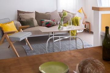 בפינת הישיבה ערבוב של יקר וזול, ספה מפס ייצור ושולחן בהזמנה (צילום: שי אפשטיין)