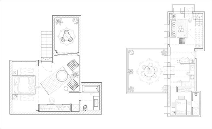 """תוכניות הדופלקס, """"אחרי"""". מימין קומת הכניסה, עם סלון, מטבח, שתי מרפסות וחדר שינה עם חדר רחצה צמוד. משמאל הקומה העליונה, עם חדר שינה גדול, שלו מרפסת וחדר רחצה צמודים (באדיבות סטודיו Other:wise)"""