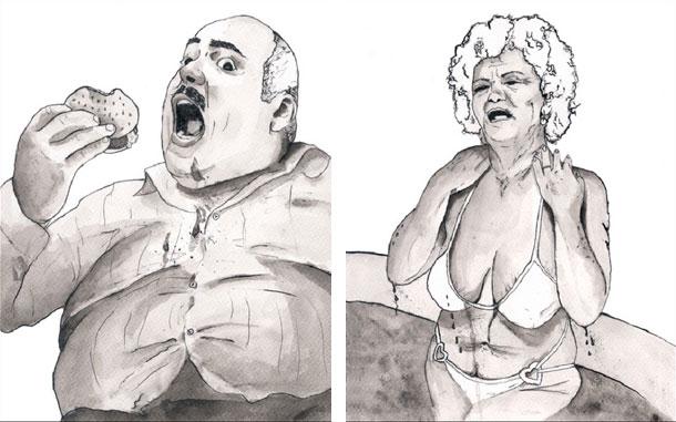 הסקיצות לכיסא ''סבתא בבגד ים'' ו''הכיסא השמן'' (איור: לירון סבג)
