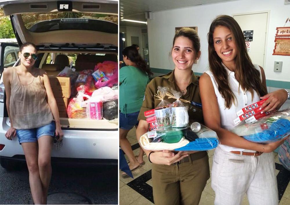 """דורון מטלון עם חיילת לב""""י בבית חולים ברזילי, וילנה ראלף על רקע תא מטען עמוס כל טוב"""
