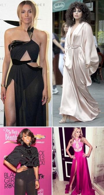 כוכבות בשמלות של אלון ליבנה: סיארה, ליידי גאגא, פריס הילטון וקלי רולנד