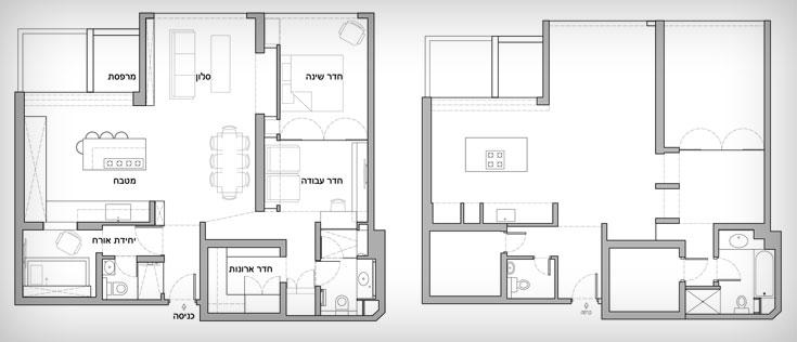 תוכנית הדירה ''לפני'' (מימין) ואחרי: הקיר בין הסלון לחדר השינה ''נדחף'' פנימה, כדי לייצר חלונות נוספים. ממ''ד אחד הפך לחדר ארונות ובשני נפתח חלון והוא מנוצל כחדר אורחים (תכנית: כרמי רבקה)