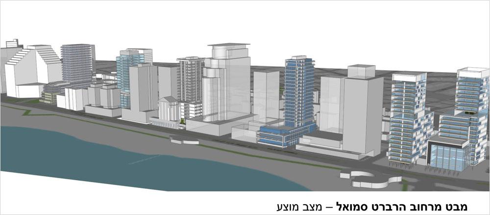 חומת ההפרדה של המגדלים. תושבי תל אביב יכולים להיפרד מהבריזה לאורך רוב רחוב הירקון, משום שזו המדיניות הרשמית של מהנדס העיר, עודד גבולי