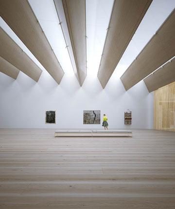 חלל פנימי במוזיאון לפי ההצעה הזוכה (הדמיה: Moreau Kusunoki / ArteFactoryLab)