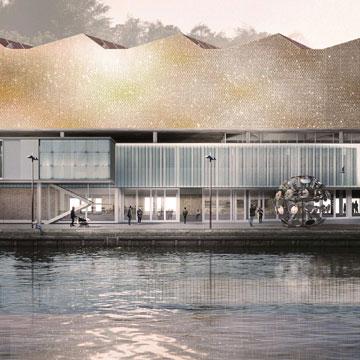 ההצעה האמריקאית-שווייצרית: מוזיאון שקומת הכניסה שלו היא בגובה המזח (הדמיה: agps architecture)