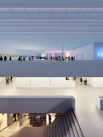 ההצעה הבריטית: מוזיאון שמכיל חללים מסוגים שונים (הדמיה: Asif Khan)