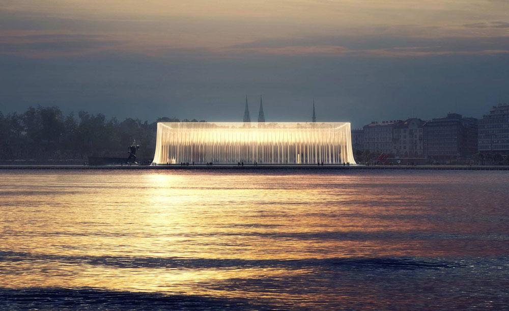 הצעה שעלתה לגמר: משרד בריטי ניסה להשתלב באזור הנמל שבו אמור המוזיאון להיבנות (הדמיה: Asif Khan)