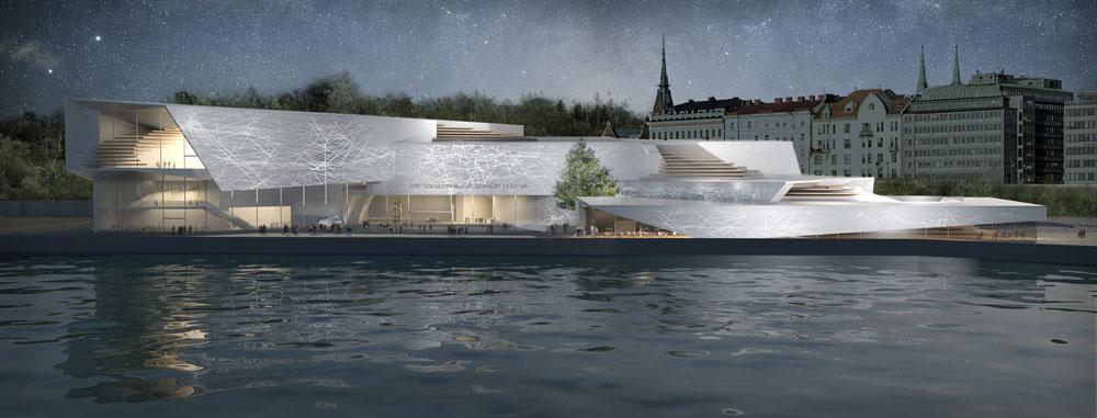 הצעה ישראלית (1): מוזיאון בהשראת הספינות העוגנות בנמל (הדמיה: פרי דוידוביץ אדריכלים)