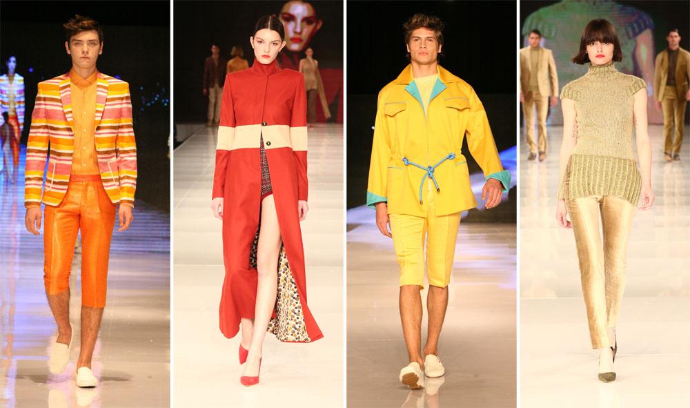 בגדים ססגוניים לגברים ולנשים. מתוך התצוגות של שי שלום בשבועות האופנה בתל אביב (צילום: ענבל מרמרי, אורית פניני)