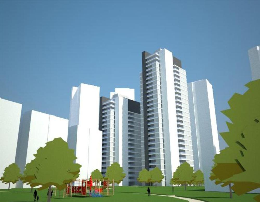 התוכנית שאושרה, ושהיזם מבקש להחליף: צמד מגדלים בני 18 ו-22 קומות. הבנייה בשטח הזה מוגבלת לגובה של 15 קומות בלבד