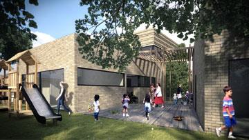 המעבר לגן הילדים. המתחם תוכנן כמו שכונה ( )