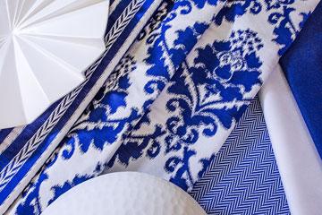 מוטיבים יווניים בכחול לבן. ''בוטיק שכטר'' (צילום: חיים אפריאט )