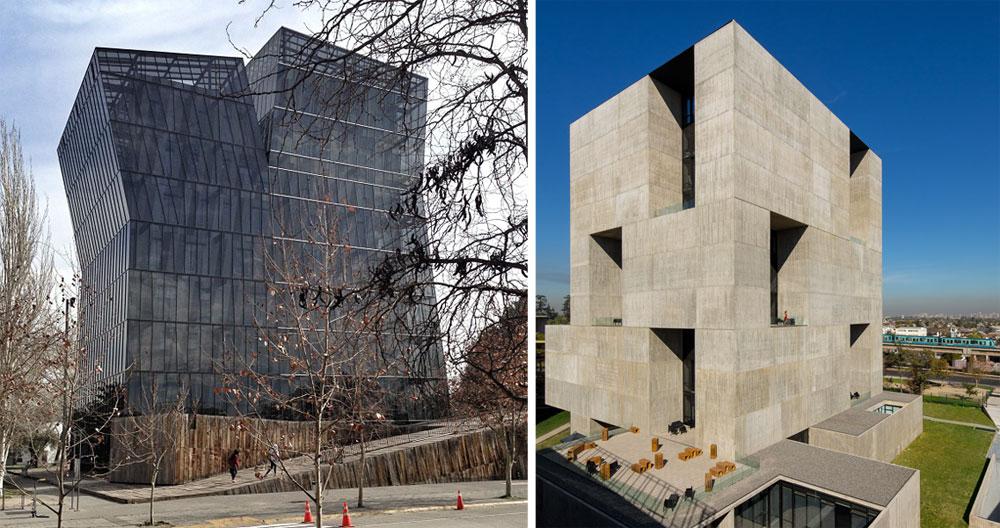 שניים מהפרויקטים הידועים של ארוונה (מימין): מרכז החדשנות Angelini ומגדלי Siamese בצ'ילה (צילום: david basulto,Centro de Innovación UC Anacleto Angelini,cc)