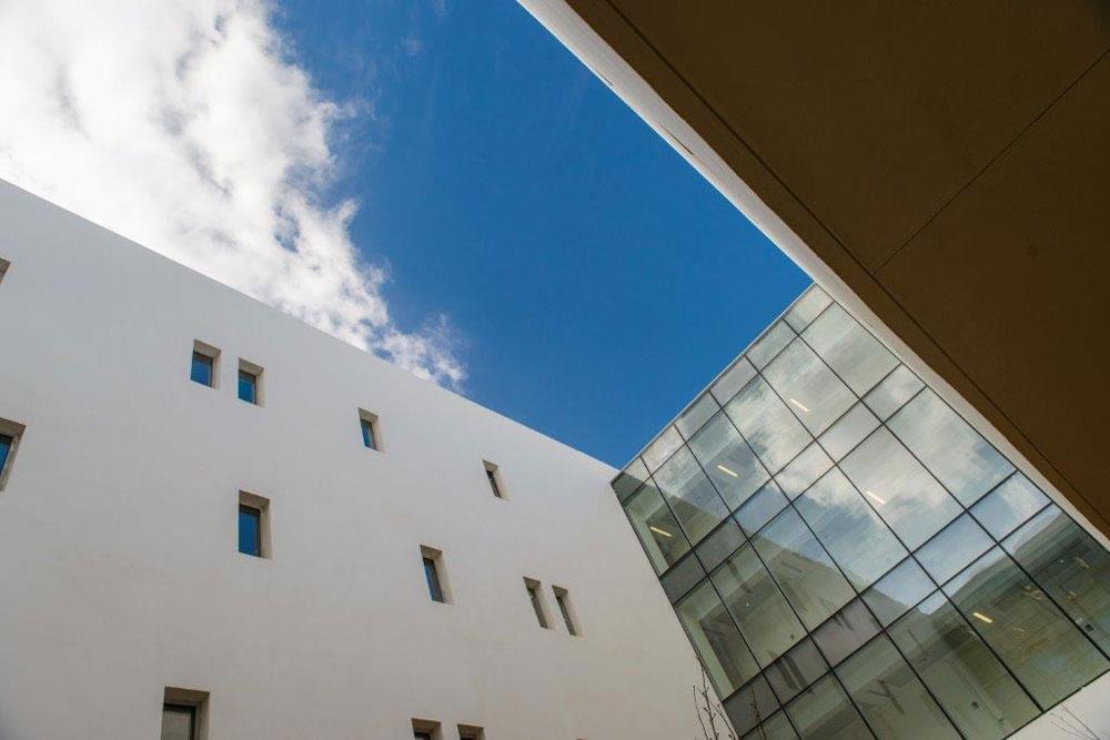 מבט מכיוון החצר הפנימית. כל החוקרים בבניין הם ישראלים, ו-20% מהם חזרו משהות ממושכת באירופה או בארצות הברית (צילום: דן חיוטין)