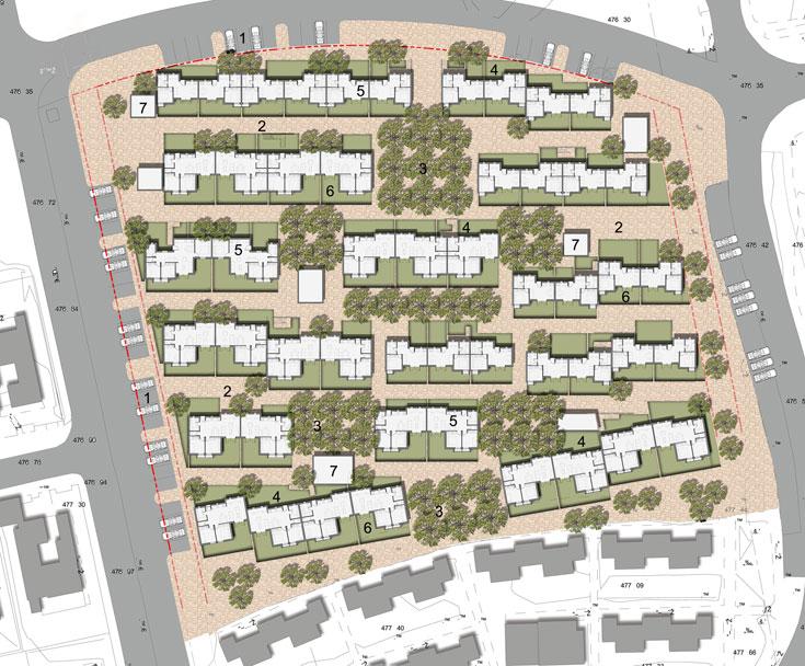 תוכנית השכונה: 67 דירות, חמישה רחובות (תכנון: רוזן-ליננברג אדריכלים)
