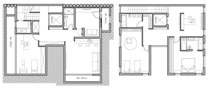 """מימין: תוכנית הקומה העליונה, שבה חדר עבודה, יחידת הורים וחדר ילדים גדול שאפשר לחלק לשניים. משמאל: תוכנית המרתף, שבו ממ""""ד, חלל משחקים, חדר עבודה וכושר וחדר שירות (באדיבות אקר מיכאל אדריכלים)"""
