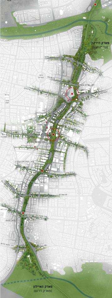 """מצפון לדרום: כך זה ייראה (תכנון: לרמן אדריכלים ומתכנני ערים בע""""מ)"""