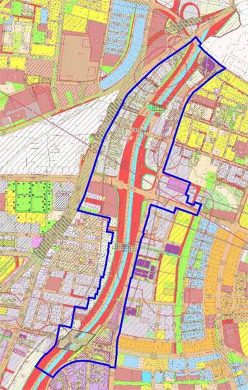 """רצועת הפרויקט כוללת כ-240 דונם. היא מקיפה לא רק את הנתיבים אלא גם שטחים שמחייבים התייחסות מסביבם (תכנון: לרמן אדריכלים ומתכנני ערים בע""""מ)"""