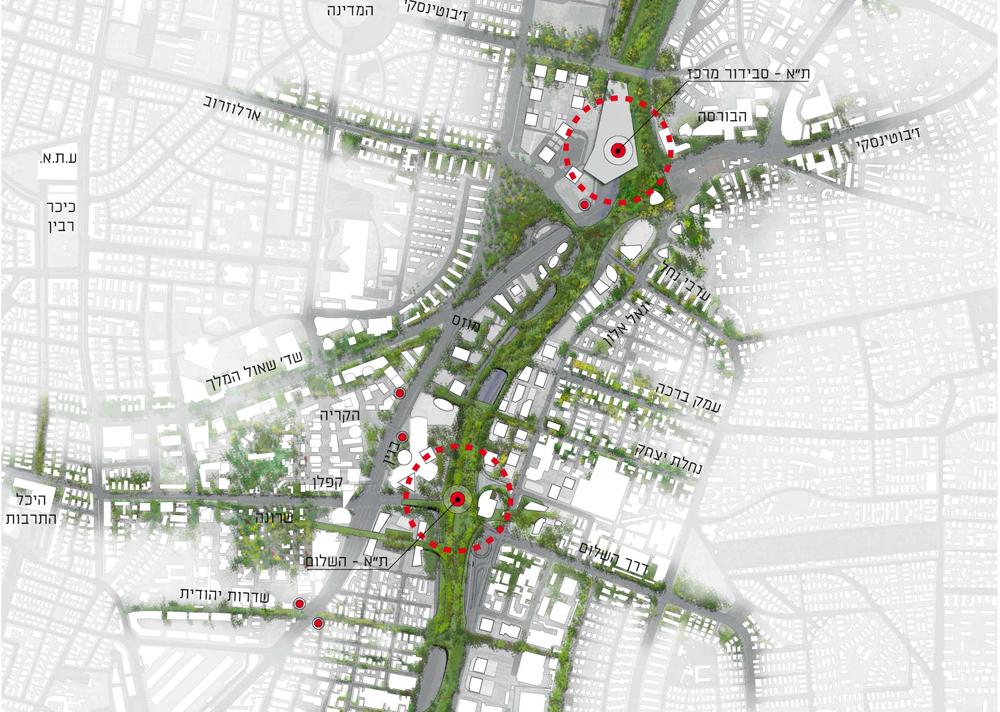 """אם ימומש, זה יהיה מרחב עירוני חדש בכניסה לתל אביב, שקושר בין פארק הירקון בצפון לפארקי בגין ושרון בדרום. כאן אפשר לראות שניים מתוך חמשת השערים של העיר (תכנון: לרמן אדריכלים ומתכנני ערים בע""""מ)"""