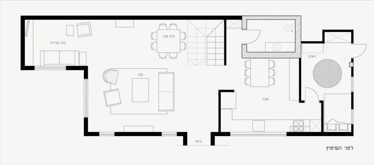 """התוכנית של קומת הכניסה """"לפני"""". חדרו של הבן הצעיר היה ליד המטבח. החלל הגדול כלל סלון, פינת אוכל ופינת טלוויזיה (באדיבות עידית סלנט)"""