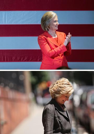 רואים את ההבדל? הילרי קלינטון לפני הביקור במספרה (למעלה) ואחרי (צילום: gettyimages)
