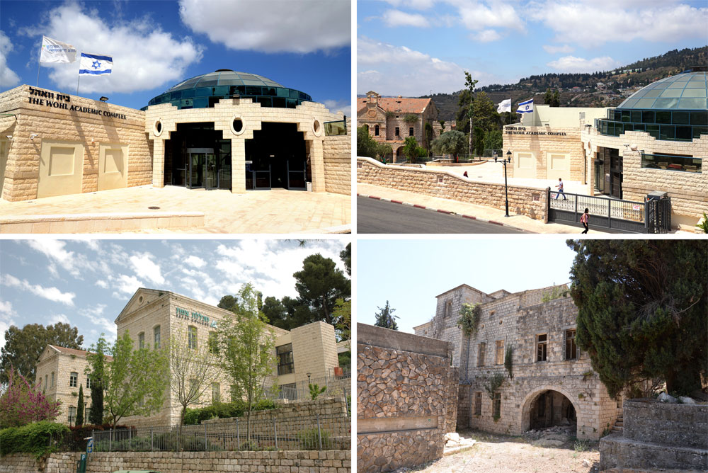 המבנים השונים שמרכיבים את המתחם: בית החולים, בית וואהל (שהפך לספרייה של המכללה) ובית הדסה (צילום: יוני לובלינר)