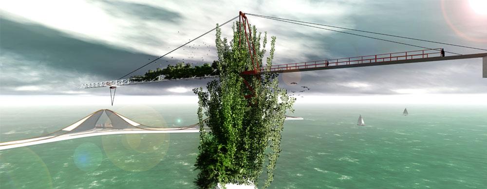 מתוך הפרויקט. האסדה, שמיצתה את תפקידה, הופכת לגן באמצע הים (באדיבות רולא עבוד)