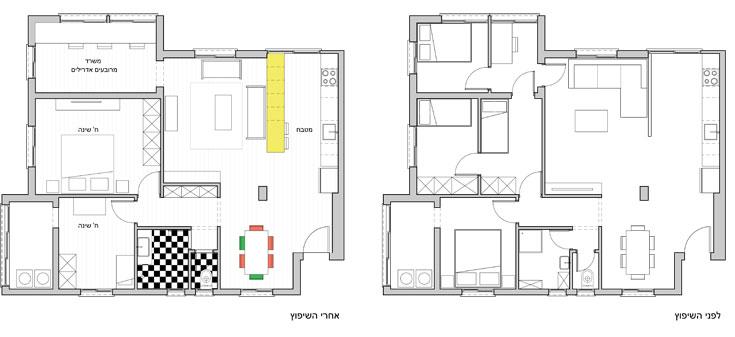 מימין: תוכנית הדירה ''לפני'', עם חמישה וחצי חדרים, רובם קטנטנים. משמאל: התוכנית אחרי שהורדו שני קירות (תכנית: מרובעים אדריכלים)