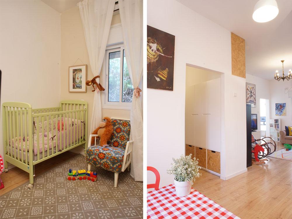 מימין: ארון אחסון דו צדדי שמשרת את הסלון ואת המסדרון, ומשמש בית לארגז החול של החתולה פהיטה. משמאל: חדרה של אביגיל בת השנה (צילום: נועם דוד-סטודיו גלימפס)