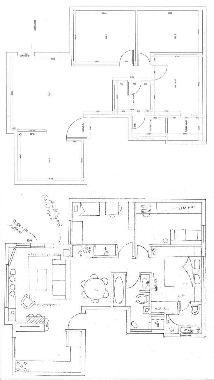 תוכנית הדירה ''לפני'' (למעלה) ו''אחרי''. השינויים במבנה הם מינוריים - אך אפקטיביים (באדיבות תמי שלוש )