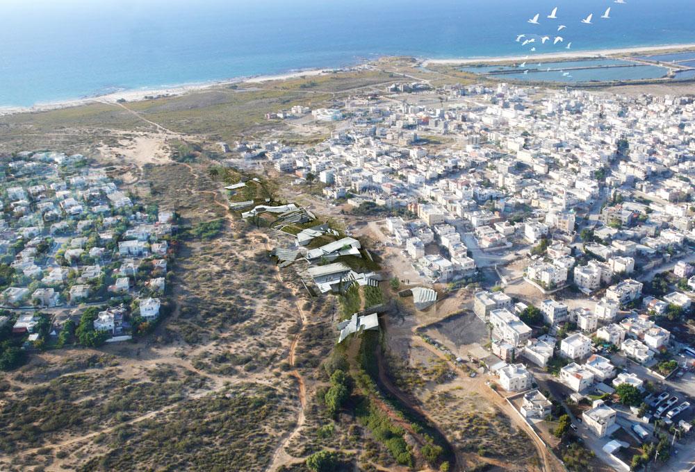 נועה קידר עיצבה מחדש את סוללת העפר המפרידה בין שני יישובי הקצה, קיסריה העשירה וג'יסר א-זרקא העני, כדי לאפשר קשר בין הצדדים (הדמיה: נועה קידר)