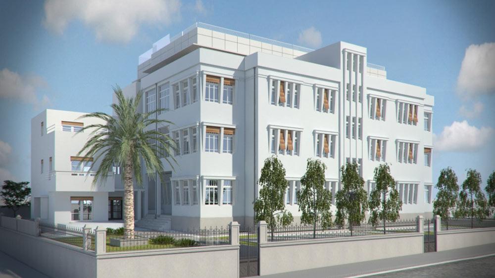הדמיה של מלון ''נורמן'' החדש, שצפוי להיפתח בשנה הקרובה בכיכר המלך אלברט בתל אביב. ארבע שנים נמשכות עבודות השימור והבנייה. כאן תהיה גם בריכה על הגג (הדמיה: 3d vision יואב מסר)