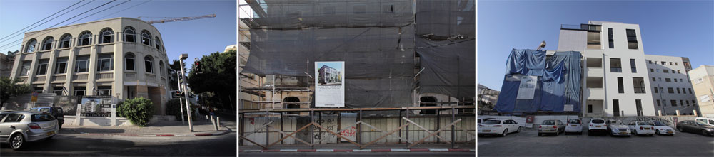 מימין: הוספת קומות ושימור בבית גוטר, ברחוב אחד העם; שימור והוספת קומות במורד הרחוב לכיוון בצלאל יפה; ובית הציפורן בפינת נחמני, שעליו ''רוכב'' מתחם לנוקס (צילום: אמית הרמן)