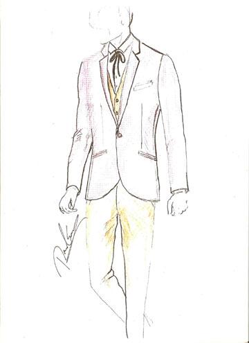 החליפה השלישית שעיצב דיויד ששון ליהודה לוי (איור: דויד ששון)