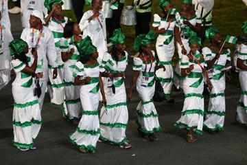 מדי נבחרת ניגריה בטקס הפתיחה. סגנון מסורתי (צילום: gettyimages)