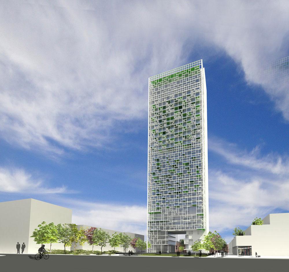 האם מגדל הוא הדרך הנכונה לאחות את הנתק בין העיר העתיקה לשכונות החדשות בבאר שבע? נטלי רויזין מאמינה שכן (הדמיה: נטלי רויזין  )