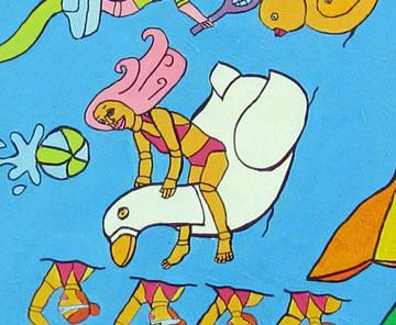"""להפליג על כנפי הדמיון, פרט מציור """"2020"""" (ציור: באדיבות שרית רוטמן)"""
