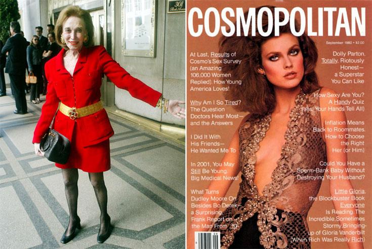 גיליון ספטמבר 1980 של מגזין ''קוסמופוליטן'' (מימין) והלן גרלי בראון. כבר בשנות ה-60 היא הציעה לנשים לחפש סיפוק מיני מחוץ לזרועות בעליהן ולתור אחר שלושה יסודות מרכזיים בחייהן: אהבה, סקס וכסף