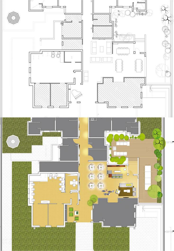 תוכניות ''בית אנדרו'', לפני (למעלה) ואחרי: הסלון הועבר מהכניסה לכיוון החלון והגינה, כדי ליצור קשר עם החוץ ולאפשר ליושבים בו שקט. שולחנות האוכל הגדולים והמוסדיים הוחלפו בשולחנות קטנים ומודולריים יותר (תכניות: BLV Design)