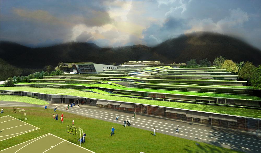 תיכון Jean Moulin בעיר Revin. האדריכלים (Off Architecture) יצרו טראסות ירוקות שמתרוממות כאילו באקראי מעל הקרקע, וכך נוצרים החלונות (הדמיה: rendering of the project of revin)