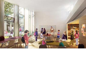 משהו מואר בממלכת דנמרק. הדמיית בית הספר וילהלמסרו (הדמיה: BIG Architects)
