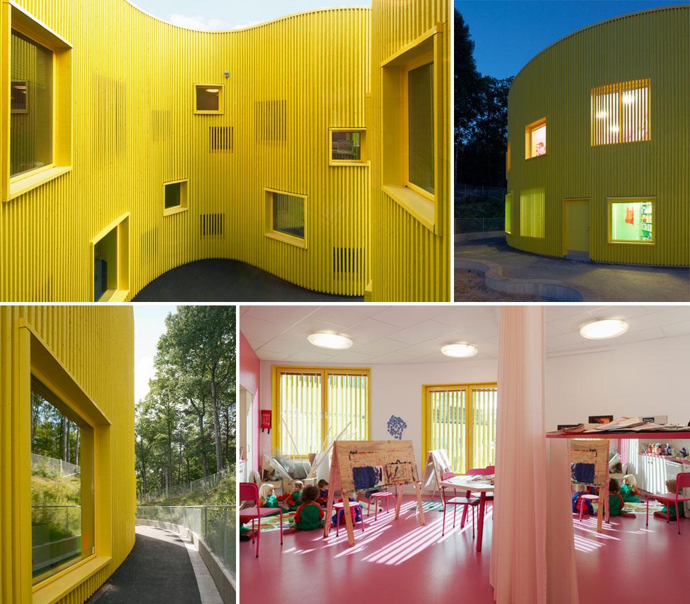 גן הילדים טלוס בשטוקהולם, בתכנון משרד Tham & Videgard. כמו לוח פוליגל צהוב המקופל פנימה, נוצרת מבואה חצי-סגורה שבה נפרדים ההורים והילדים בבוקר ונפגשים שוב אחר הצהריים (צילום: Ake E:son Lindman)