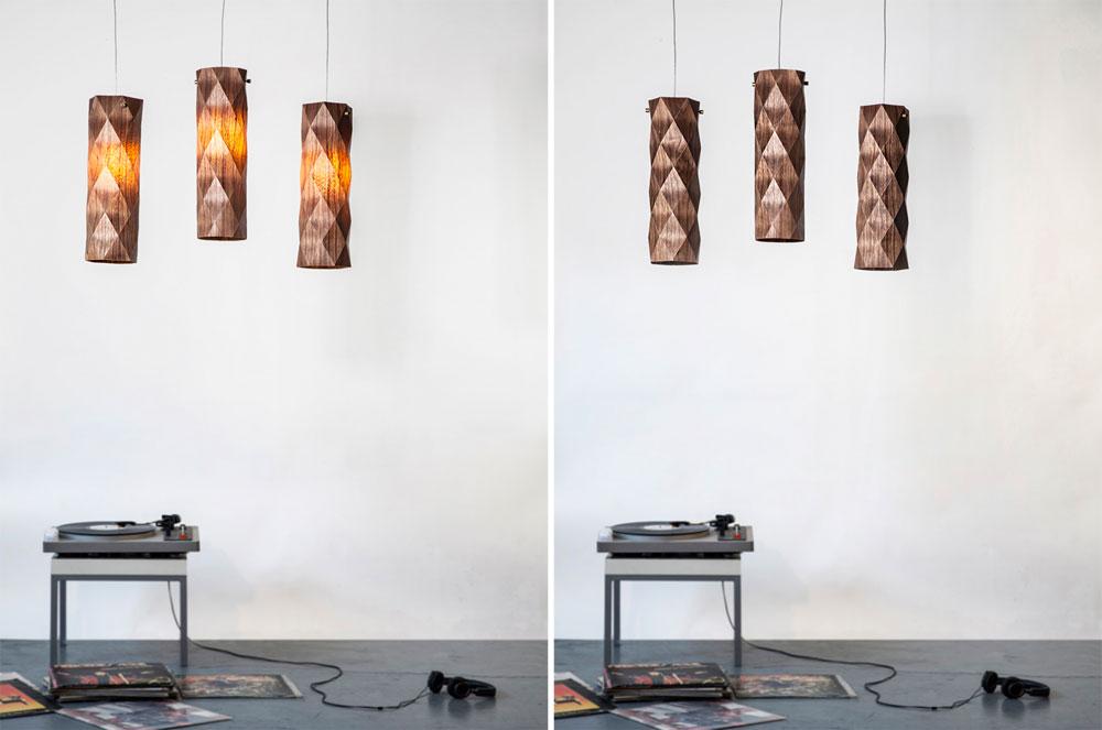 גופי התאורה עשויים פורניר עץ המצופה שכבה אקרילית, חומר המאפשר גמישות ושקיפות. מנורות מתוך הסדרה Folded (צילום: יואב גורין)