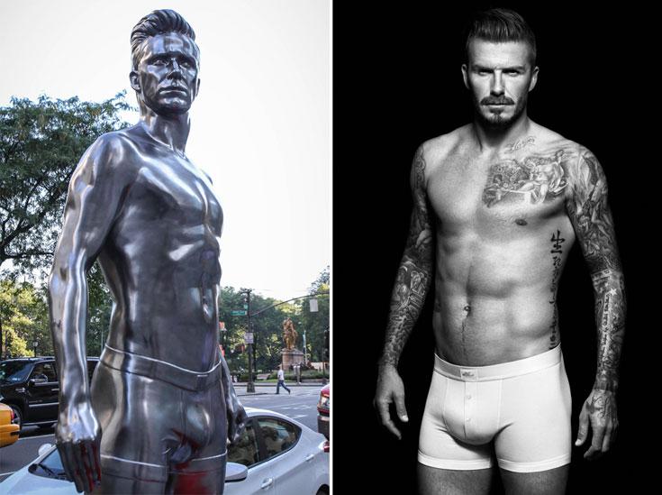 דיוויד בקהאם בקמפיין ההלבשה התחתונה של H&M (מימין) והפסל בדמותו, משל היה אל יווני או לפחות סוג של בודהה מערבי (צילום: אלסדייר מקללן ו gettyimages)